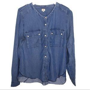 ARITZIA Wilfred Collarless Denim Shirt Size Medium